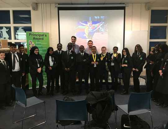 Andy Grant with students from Bethnal Green Academy